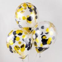 Шары с конфетти 3-х цветов золото+черный+белый