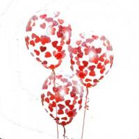 Шары с конфетти в виде красных сердечек