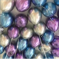 Гелиевый шар хром фиолетовый+серебряный+синий