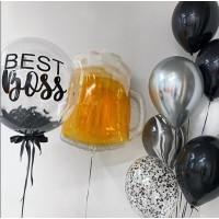Гелиевый сет из баблс, фигурного фольгированного шара в виде кружки пива и фонтана в черных тонах начальнику