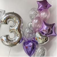 Сет с цифрой и фонтаном с фольгированными звездами и сердцами в серебристо-сиреневых тонах на день рождения