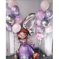 Сет с цифрой, баблс, фигурным фольгированным шаром Принцесса София и двумя связками с шарами агатами в серебристых и розово-сиреневых тонах на день рождения девочке