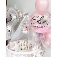 Сет из цифры и фонтана шаров с баблс с надписью в серебристо-розовых тонах на день рождения девочке