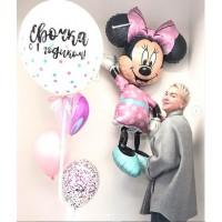 """Сет из """"ходячего"""" фольгированного шара Минни Маус и фонтана с большим шаром с надписью в розово-голубых тонах на день рождения девочке"""