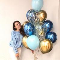 Гелиевая связка из шаров с конфетти, хром и стандартных в сине-золотых тонах