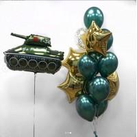 Сет из фигурного фольгированного шара Танк Т-34 и связки из 14 шаров с фольгированными звездами в зелено-золотых тонах на 23 февраля
