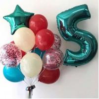 Сет из цифры и связки шаров с фольгированной звездой в мятно-синих, красных и айвори тонах на день рождения