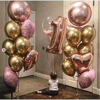 Сет из цифры, баблс и связок шаров с фольгированными сферами и сердцами в розово-золотых тонах на день рождения девочке