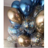 Связка из шаров с конфетти и шаров хром в сине-золотых тонах