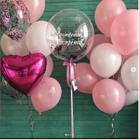 Гелиевый сет из баблс с надписью и связок шаров с фольгированным сердцем в бело-розовых тонах на день рождения сестре
