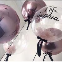 Сет из баблс с надписью, баблс и фольгированных сфер в сиреневых тонах на день рождения девушке