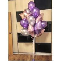 Связка 15 шаров с фольгированными звездами в серебристых и розово-сиреневых тонах