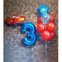 """Сет из цифры, фигурного фольгированного шара Молния МакКуин """"Тачки"""" и связки шаров с фольгированной звездой с надписью в красно-синих тонах на день рождения мальчику"""