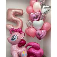 """Сет с цифрой, """"ходячим"""" шаром Пони Пинки Пай и фонтаном с фольгированными сердцами в серебристо-розовых тонах на день рождения девочке"""