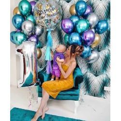 Сет из цифры, большого шара с надписью и конфетти на ленте тассел и связок из шаров хром в серебристо-золотых и сине-зеленых тонах на день рождения мальчику